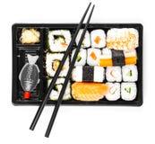 Sushi menu in black transport box Royalty Free Stock Image