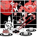 Sushi menu card illustration with sakura and butterfly. Sushi menu card abstract illustration with sakura and butterfly Stock Photos