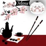 Sushi menu card. With sakura branch Royalty Free Stock Image