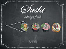 Sushi menu on chalkboard background, vector, illustration, freeh Royalty Free Stock Photography