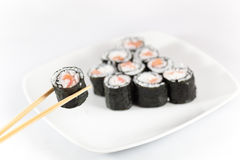 Sushi menu and chopsticks Stock Photo