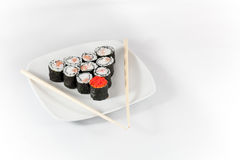 Sushi menu and chopsticks Royalty Free Stock Photo