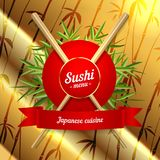 Sushi menu cover icon on gold background. Vector clip art illustration.  Stock Photo