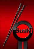 Sushi Menu Design. With a black and red symbol with chopsticks and text Sushi on a red velvet background with shadows Royalty Free Stock Images