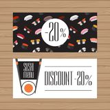 Sushi menu design. Flyer layout template with modern graphic. Japanese cuisine. Vector illustration. royalty free illustration