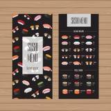 Sushi menu design. Leaflet and flyer layout template. Japanese f stock illustration