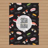 Sushi menu design. A4 size layout template. Cover restaurant bro stock illustration