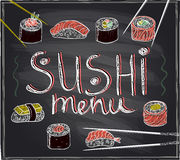 Sushi menu hand drawn illustration Stock Images