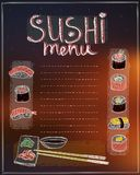 Sushi menu list hand drawn vector illustration. Copy space for text stock illustration