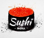 Sushi menu poster watercolor Royalty Free Stock Images