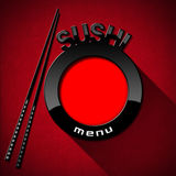 Sushi Menu on Red Velvet Background. Red and black plate with chopsticks and text Sushi menu. Template for a sushi menu on a red background Royalty Free Stock Photos