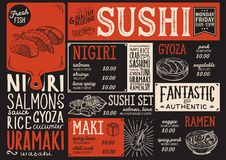 Sushi menu restaurant, food template. Sushi menu for restaurant and cafe. Design template with food hand-drawn graphic illustrations Stock Photos
