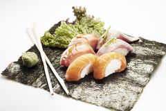 Sushi menu with six nigiri Stock Photography