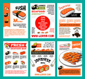 Sushi menu template set for japanese food design Royalty Free Stock Images