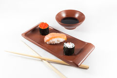 Sushi menu with wasabi, soy sauce and chopsticks Royalty Free Stock Images