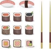 Sushi messi in uno stile piano Fotografia Stock