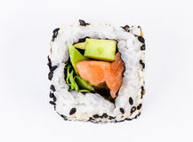 Sushi met avocado en tonijn hoogste mening Stock Fotografie