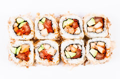 Sushi met avocado, vissen en rode kaviaar hoogste mening Royalty-vrije Stock Afbeelding