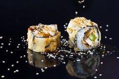 Sushi met bovenste laagjes Royalty-vrije Stock Foto