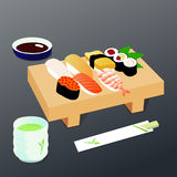 Sushi met eetstokjes vector illustratie