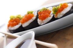 Sushi met eetstokjes Stock Foto's