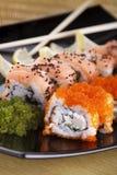 Sushi met eetstokjes Stock Foto