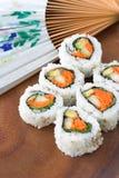 Sushi met ventilator Stock Afbeeldingen