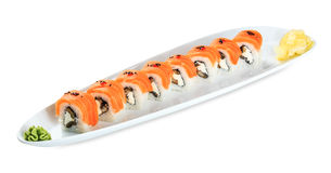 Sushi Midori Roll plate isolated on white Stock Photography