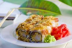 Sushi mit Aal Stockbild