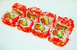 Sushi mit Aal, Rogen des fliegenden Fisches Stockfoto
