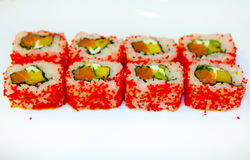 Sushi mit Aal, Rogen 2 des fliegenden Fisches Stockbild