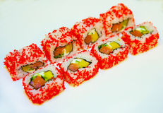Sushi mit Aal, Rogen 5 des fliegenden Fisches Lizenzfreie Stockbilder