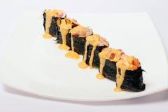 Sushi mit dem Käse lokalisiert auf Weiß Stockfotografie