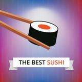 Sushi mit Essstäbchen auf hellblauem rosa Bambushintergrund Vektor maki Stockbild
