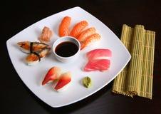 Sushi mix. Japanese sushi food mix set royalty free stock images