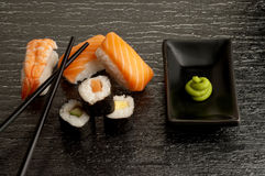 Sushi mix with chopsticks Stock Photo
