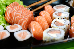 Sushi mix. A plate with different kids of sushi royalty free stock photo