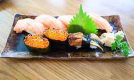 Sushi mix  on plate Royalty Free Stock Image