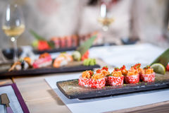 Sushi na placa Imagens de Stock Royalty Free