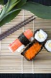 Sushi on natural bamboo mat Stock Photography