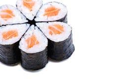 Sushi nella riga isolata sopra bianco Immagine Stock Libera da Diritti