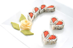 Sushi nicely decorated forming hearts  shapes Stock Photos