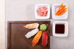 Sushi nigiri. Some place left for bodycopy Royalty Free Stock Image