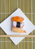 Sushi nigiri in dish Stock Images