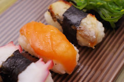 Sushi nigiri in dish Royalty Free Stock Images