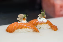 Sushi nigiri. Rolls with truffle on white plate Royalty Free Stock Photos