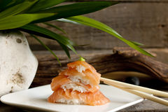 Sushi nigiri salmon closeup Royalty Free Stock Images