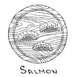 Sushi Nigiri with Salmon Fish on Round Cutting Board. Fish Cut Slice For Cooking, Holiday Meals, Recipes, Seafood Guide, Menu. Han. D Drawn Illustration. Savoyar Royalty Free Stock Photography