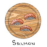 Sushi Nigiri with Salmon Fish on Round Cutting Board. Fish Cut Slice For Cooking, Holiday Meals, Recipes, Seafood Guide, Menu. Han. D Drawn Illustration. Savoyar Royalty Free Stock Image