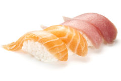 Sushi nigiri with salmon and tuna Royalty Free Stock Image